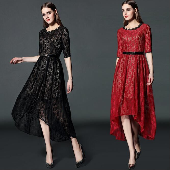 Women Dress 2016 New Fashion Maxi Dress High End Boutique Lace Dress