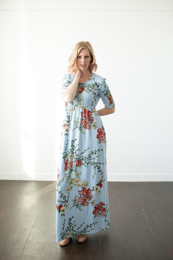 Photo of CLEARANCE, Maxi dress with pockets, light blue, daisy like flowers, empire, plus size, tall girl, pe