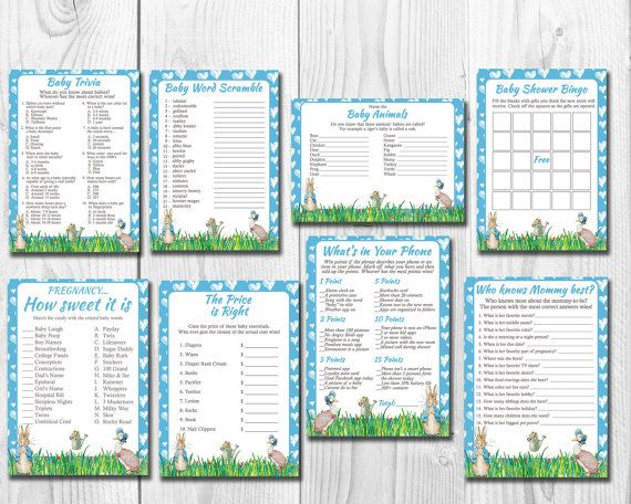 Peter Rabbit Boy Baby Shower Games Package Eight Printable Games