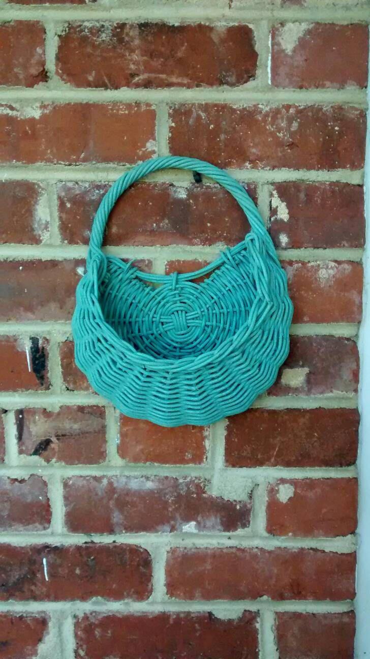 blue woven hanging planter basket rattan style sky blue basket
