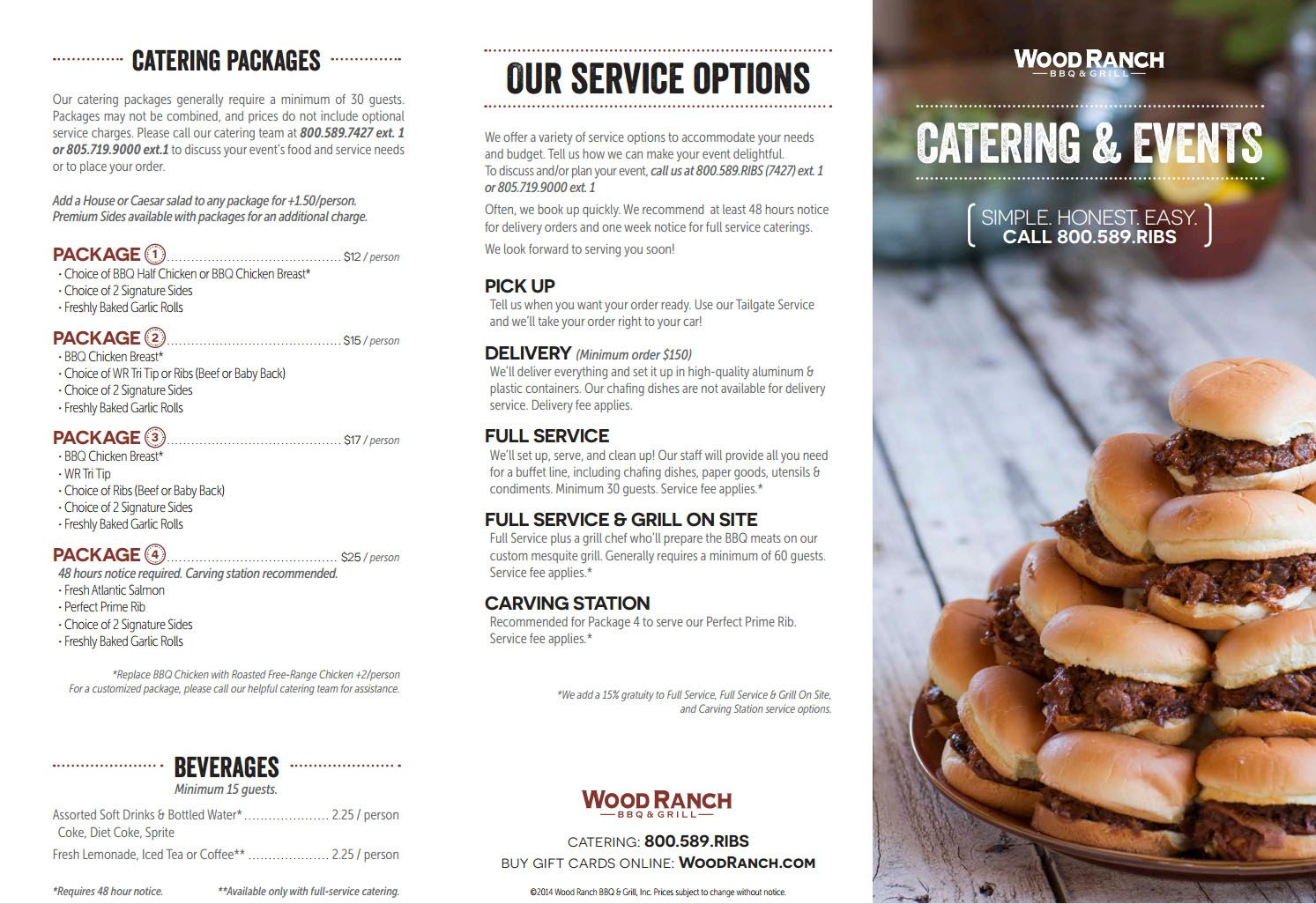 Wood Ranch Catering Menu WB Designs - Wood Ranch Catering Menu WB Designs