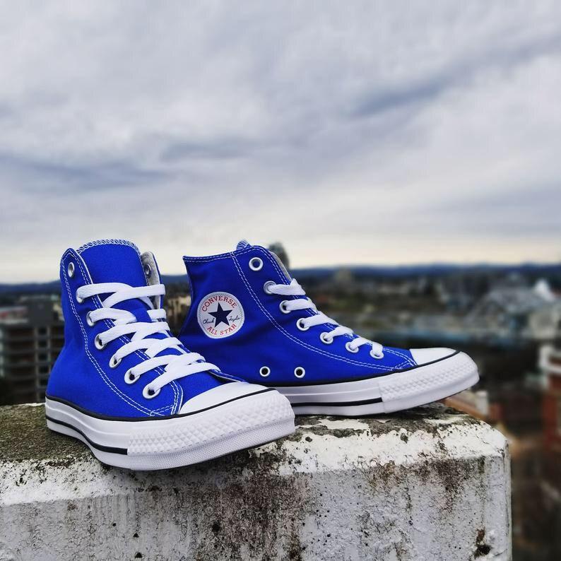 Blue high tops, Royal blue converse