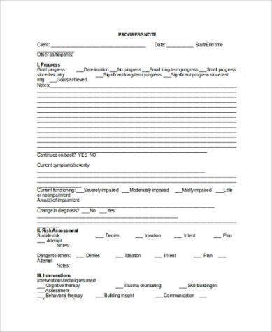 Therapy Progress Note Template Notes Template Social Work