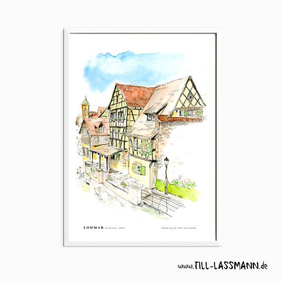 Lohmar * Germany * Poster * Architectural Drawing * Fine Art to download * A2