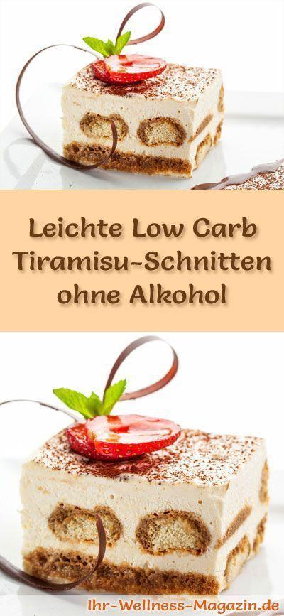 Leichte Low Carb Tiramisu-Schnitten ohne Alkohol - Rezept ohne Zucker