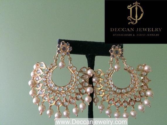 Photo of Aleezay Hyderabadi Jadau Halskette mit Ohrringen, goldenen Perlen, indischem Schmuck und südindischem Schmuck