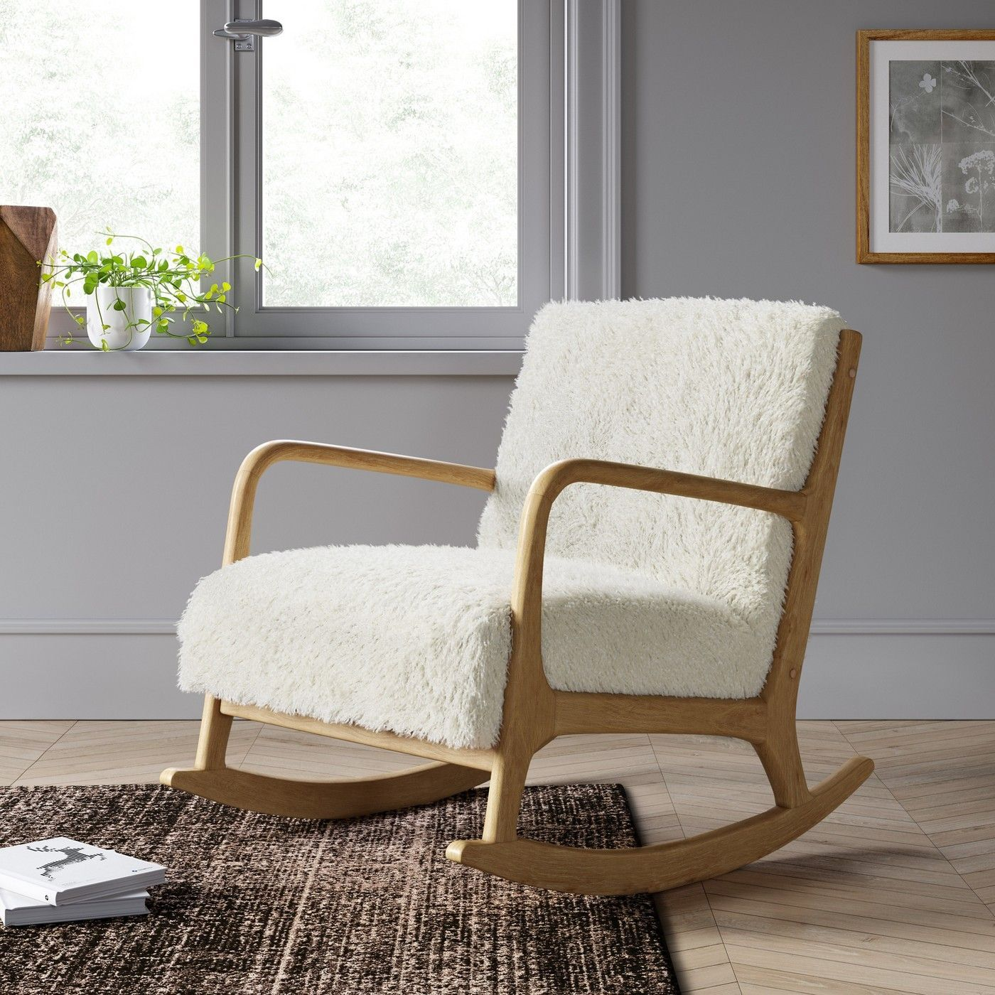 This Cozy Material Is Trending Right Now And It Makes The Warmest Blankets Wood Arm Chair Living Room Rocking Chairs Rocking Chair Nursery