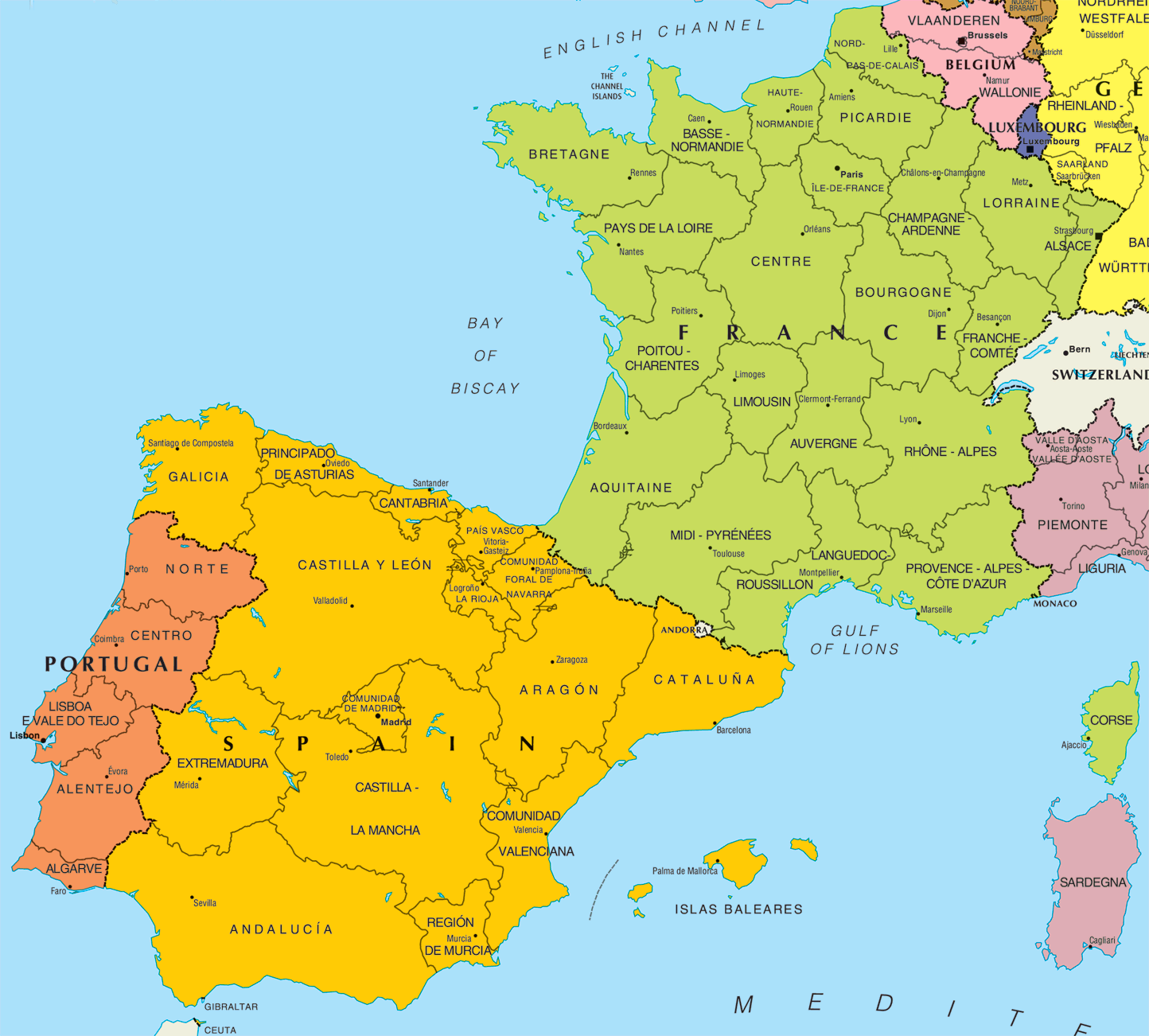 Map Of Portugal And Spain Detailed.Printable Map Of Spain And Portugal Twitterleesclub
