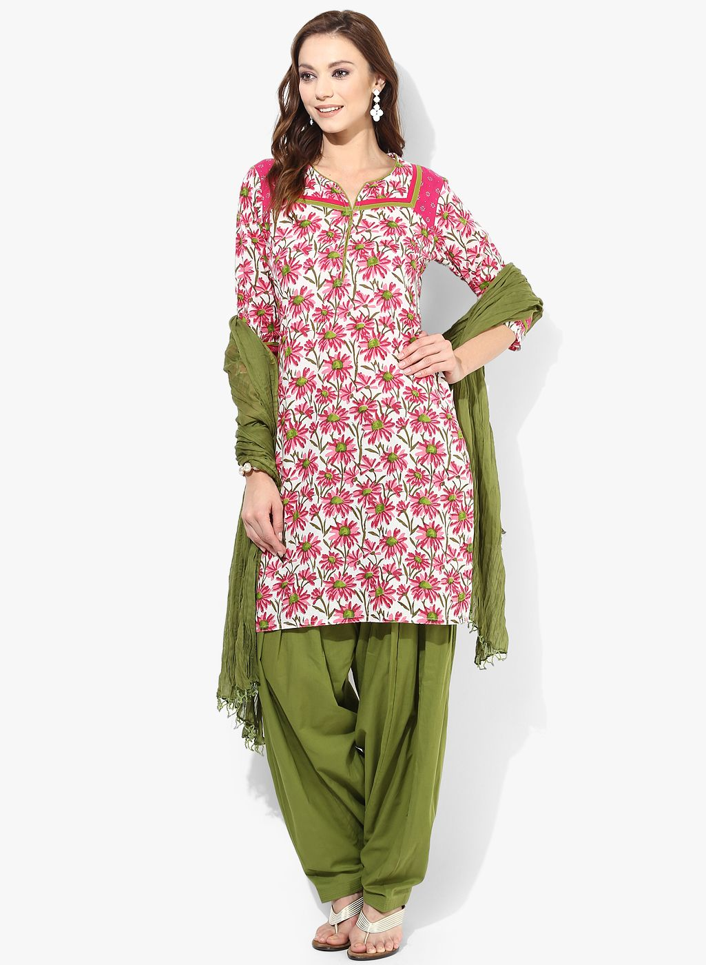 d771176e89 Jaipur Kurti Cotton Rani Kurti With Mehendi Green Patiala Salwar And Duptta  Now @ Looksgud.in #SalwarSuit #Cotton #Printed