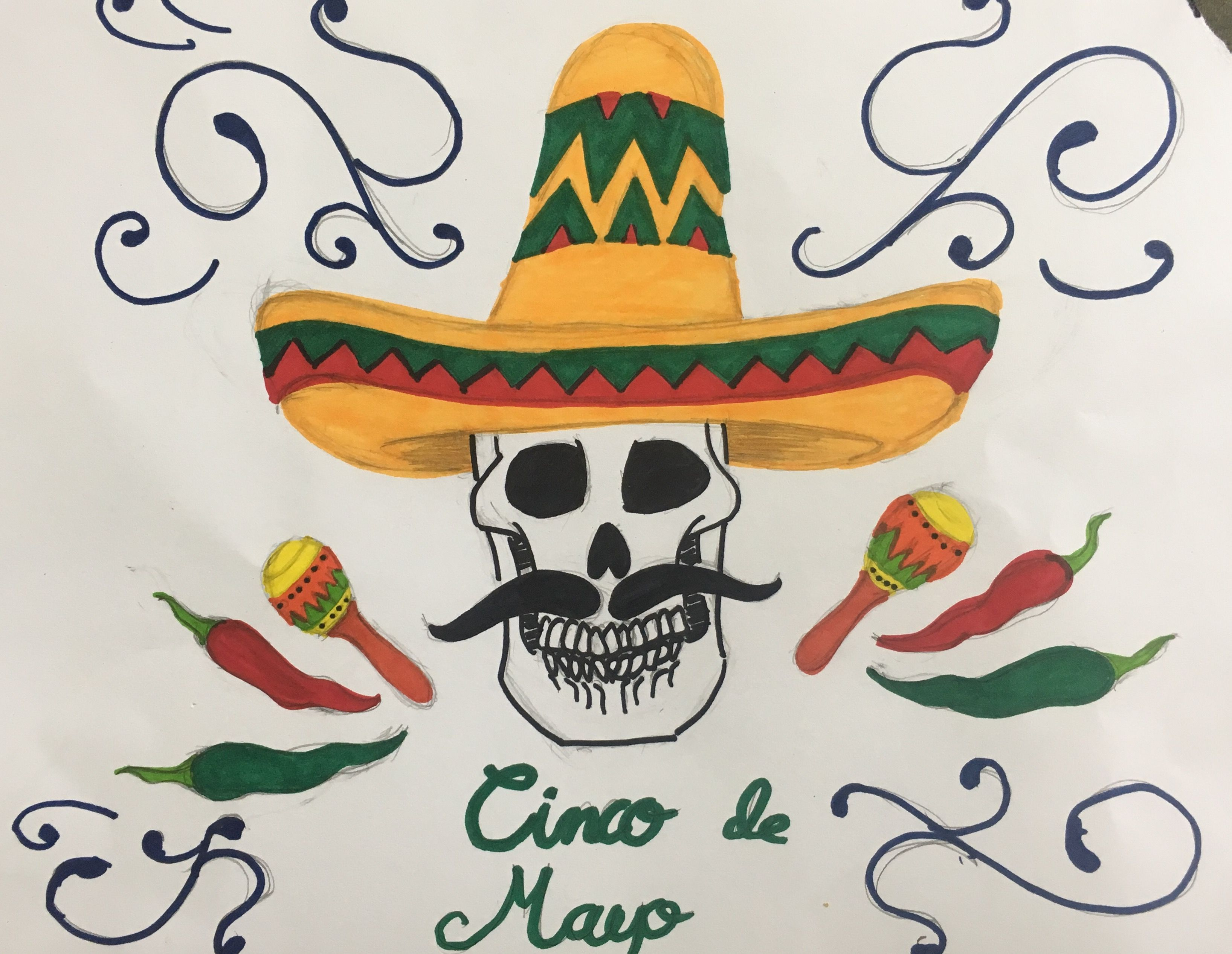 Study Of Mexican Art Cinco De Mayo Sugar Skulls Art