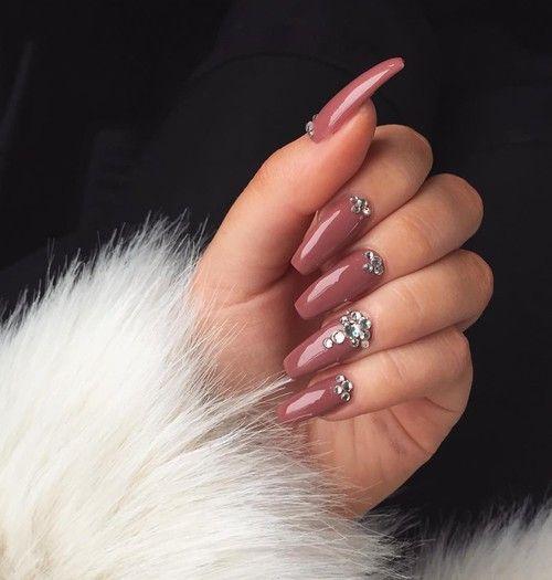 Long nail inspiration love the mauve nail design and jewels long nail inspiration love the mauve nail design and jewels prinsesfo Image collections