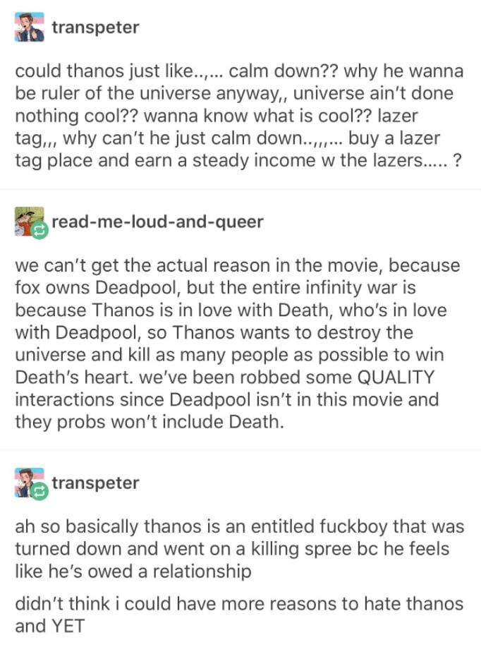 36 tumblr posts and 19 tweets about quotavengers infinity