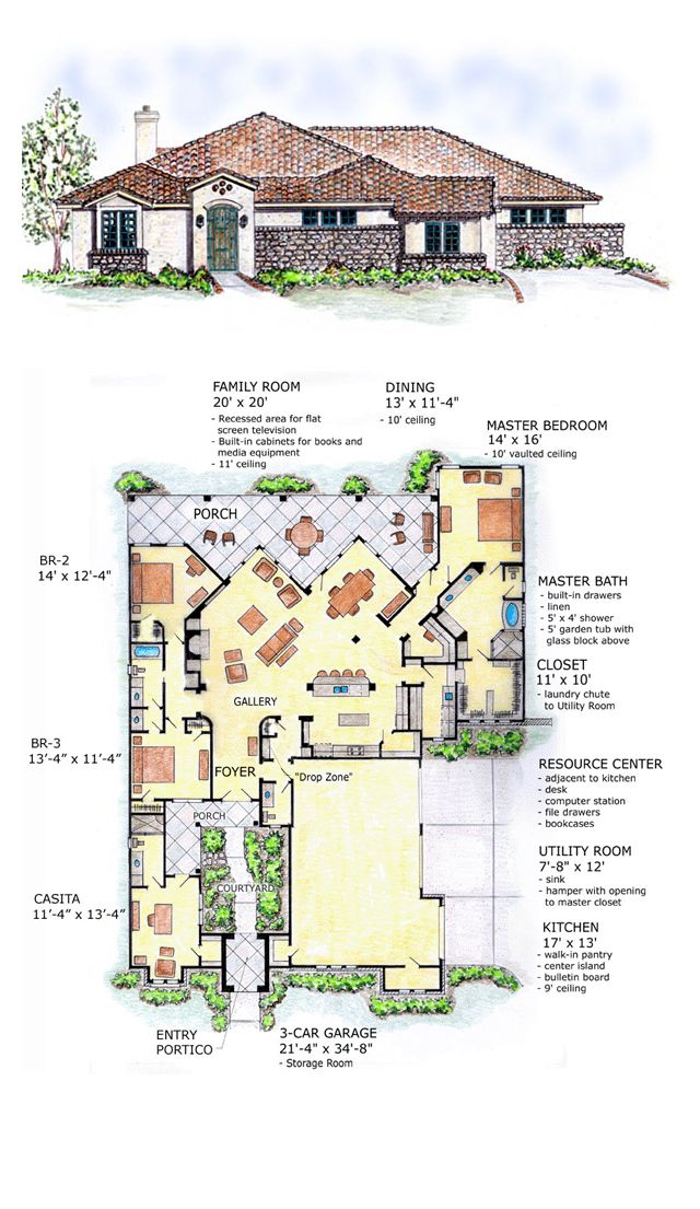 Southwest Style House Plan 56540 With 3 Bed 3 Bath 3 Car Garage Southwest House How To Plan House Plans