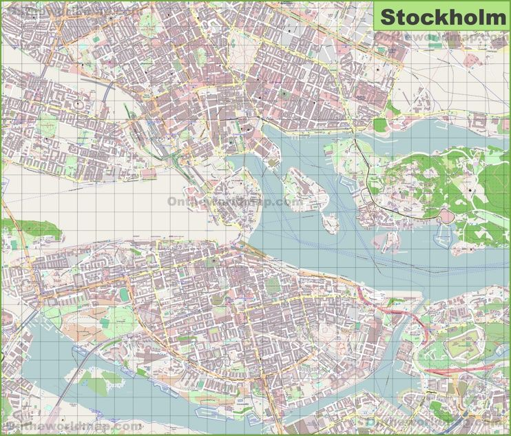 Large detailed map of Stockholm Maps Pinterest Large Sweden