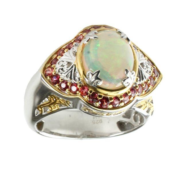 Michael Valitutti Ethiopian Opal & Dark Orange Sapphire Ring