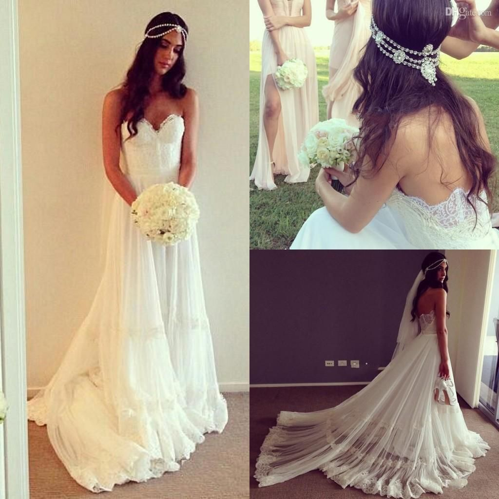 2015 spring bohemian wedding dresses sweetheart backless for Western lace wedding dresses