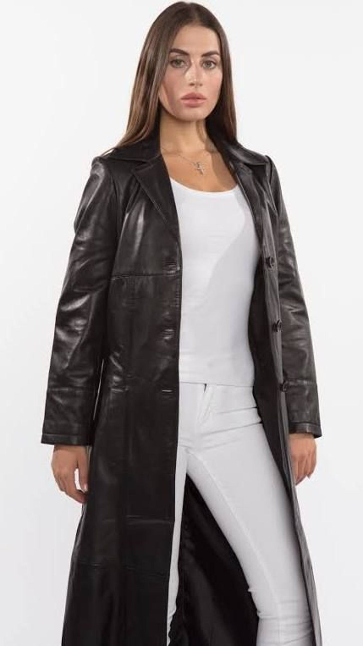 Long Leather Jacket in 2020 Long leather coat, Leather