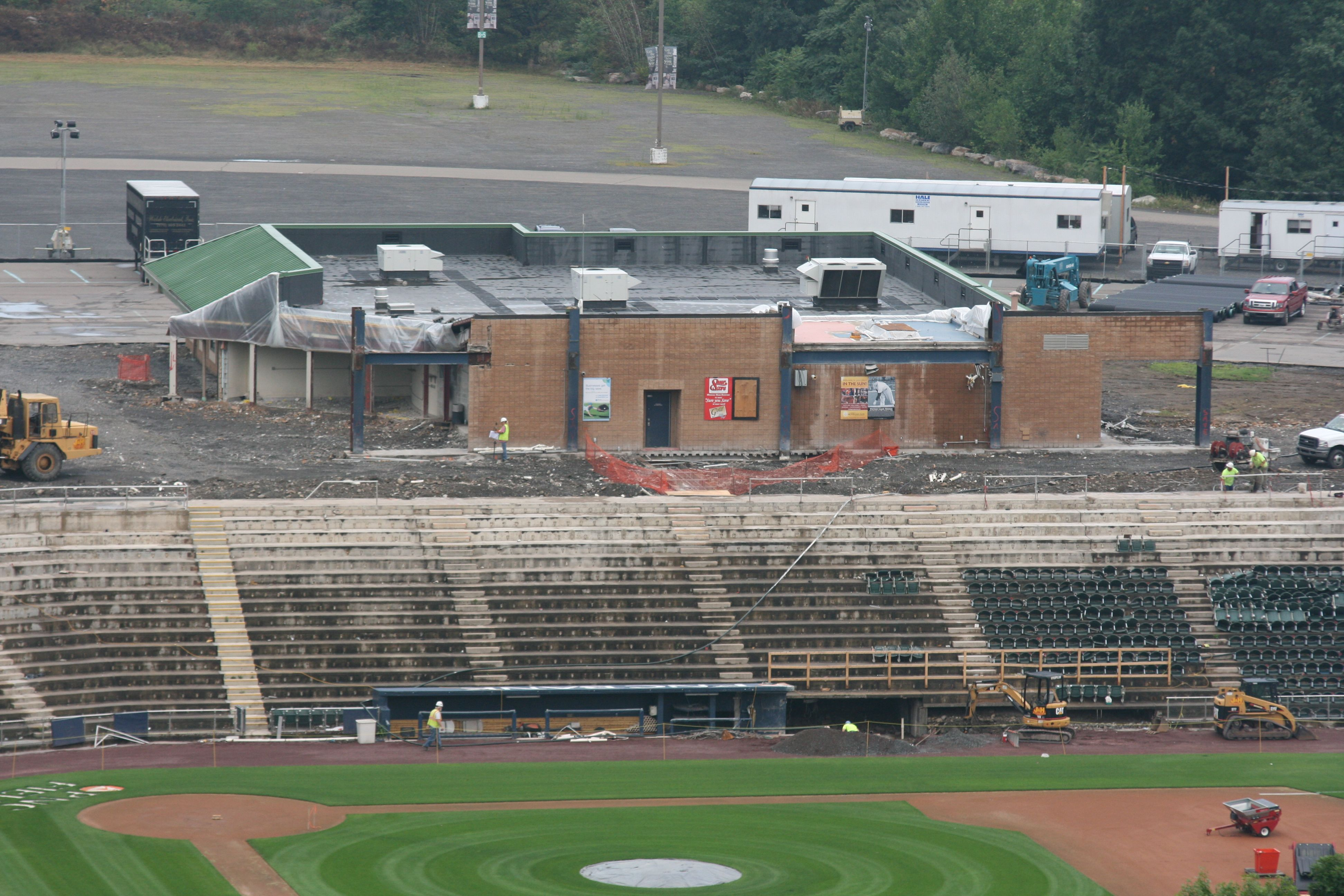 Work continues on all levels on the third base side of PNC Field in Moosic.
