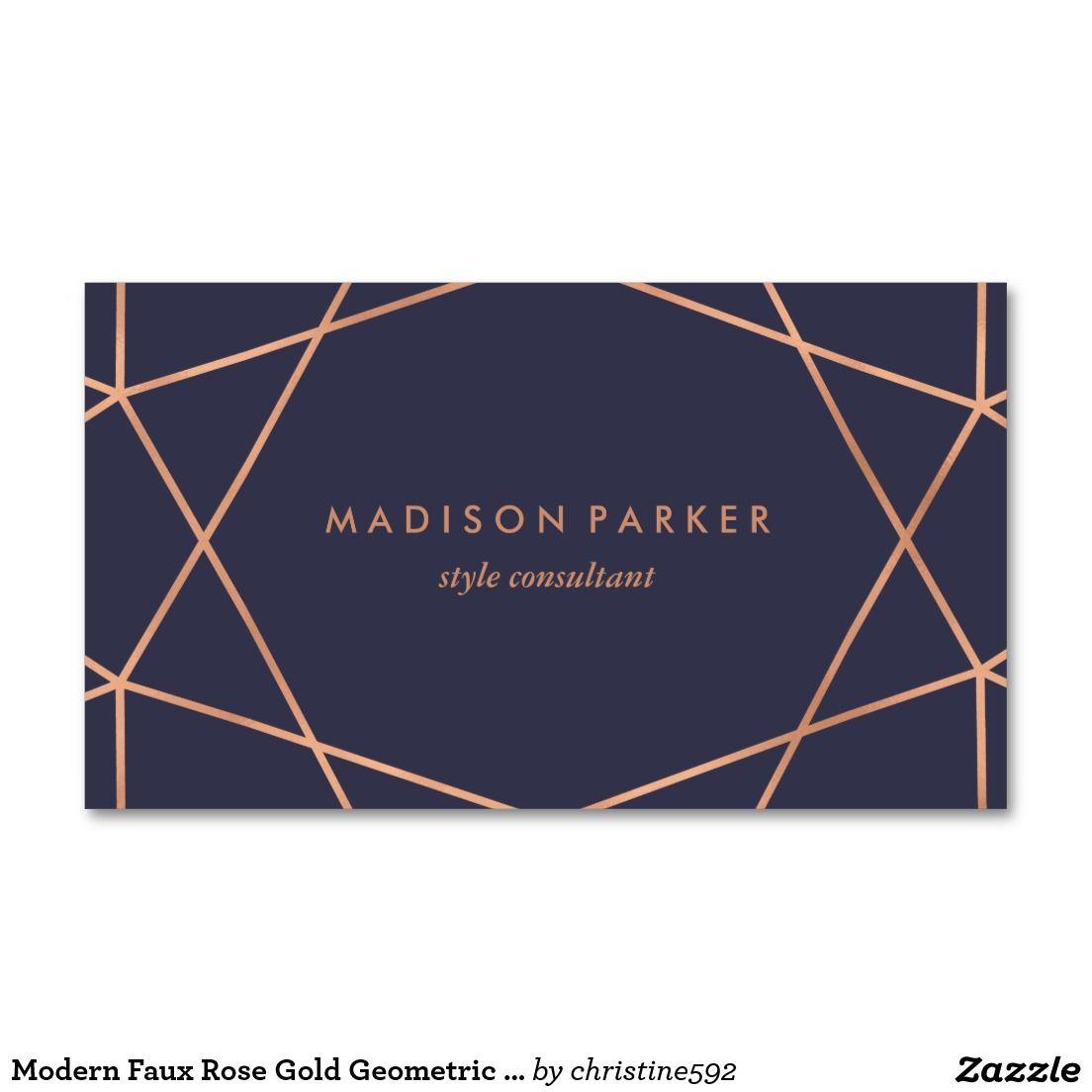 Bleu Nuit Modern Faux Rose Gold Geometric On Midnight Blue Business Card Carte De Visite Affaires