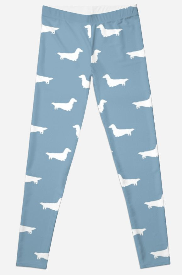 Long Haired Dachshund Silhouettes Pattern Leggings
