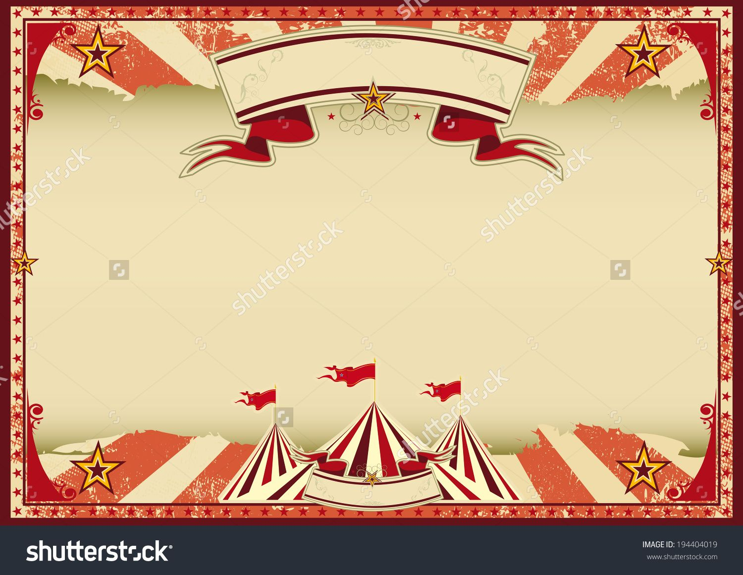Vintage Circus Poster Background Horizontal Red Circus ...