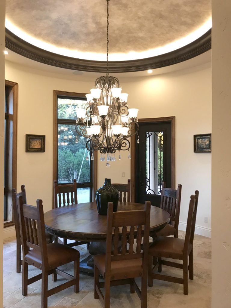 Complementing The Shape Of The Spanish Dining Room This Round Spanish Dining Table Was The Perfect Fit Spanish Dining Room