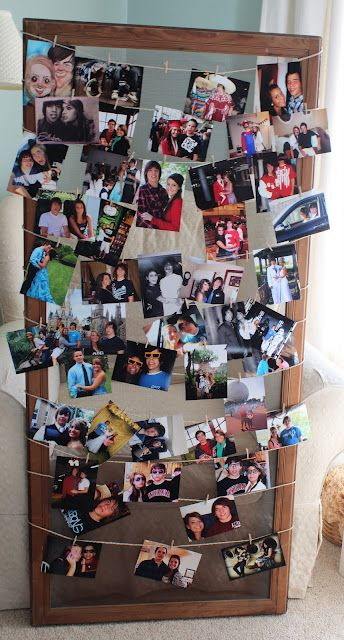 A different way to hang picture ~ a large frame, string and small ...