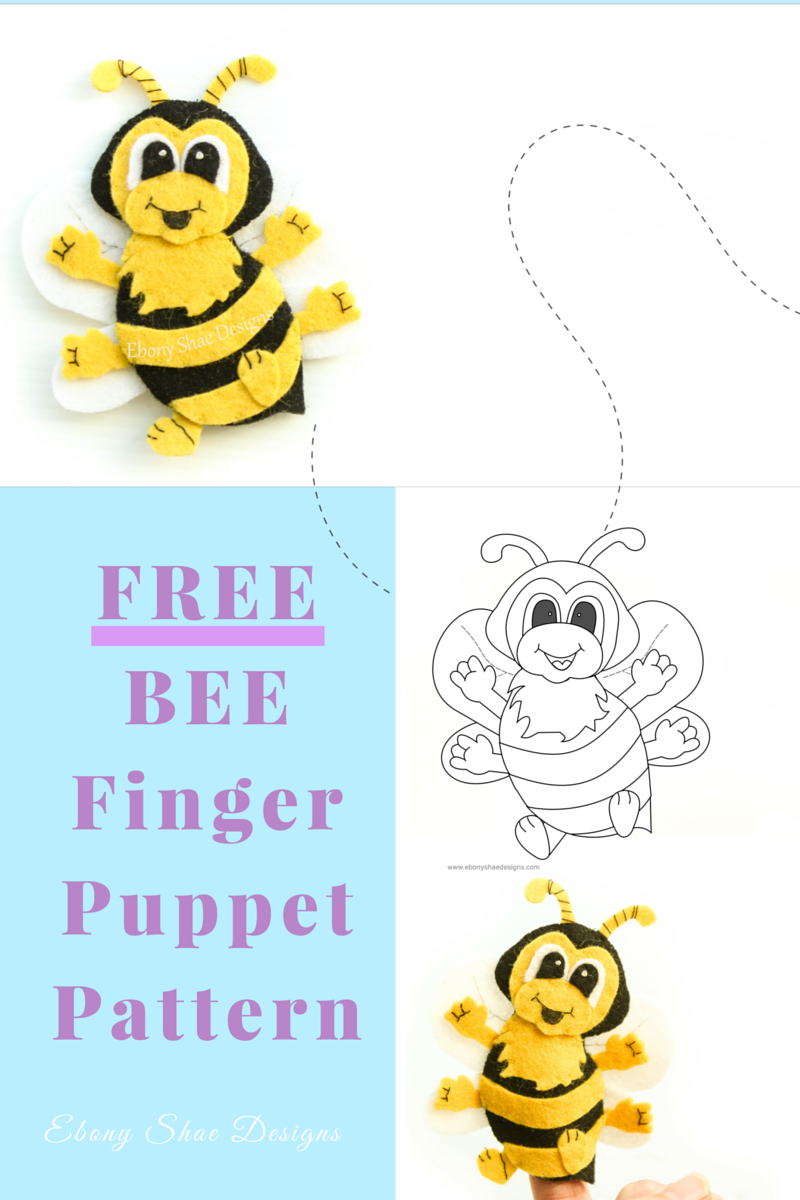 free pdf pattern. bee finger puppet. grab your free bee finger