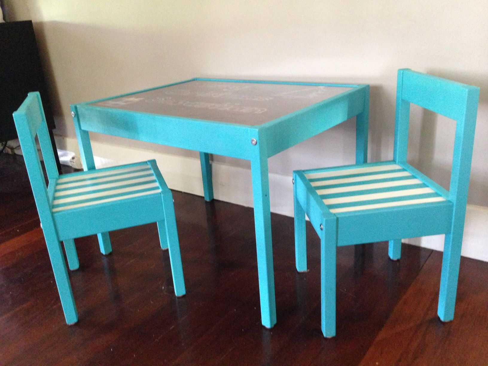 Ikea Latt Kids table hack All parts spray painted before assembly. Stirpes  done using painters