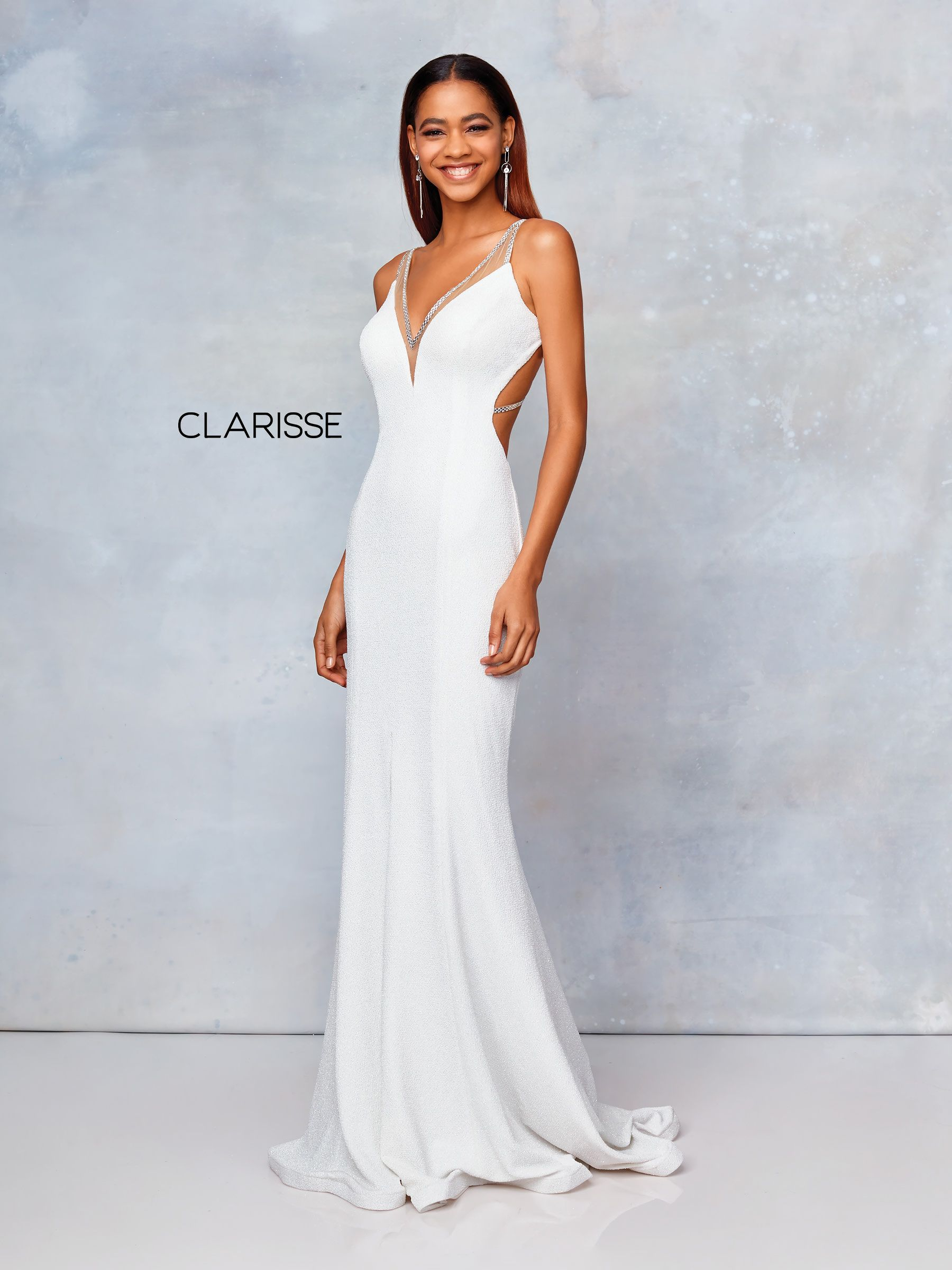 off white glitter jersey prom dress with cut out sides and