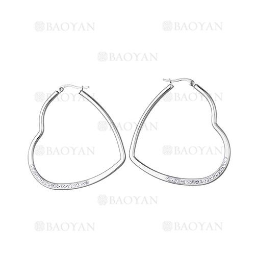 49*49mm aretes de corazon con cristal de plateado en acero-SSEGG814595