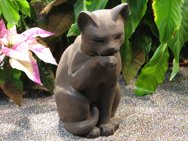 Cast Stone Cement Contented Cat Outdoor Garden Statue