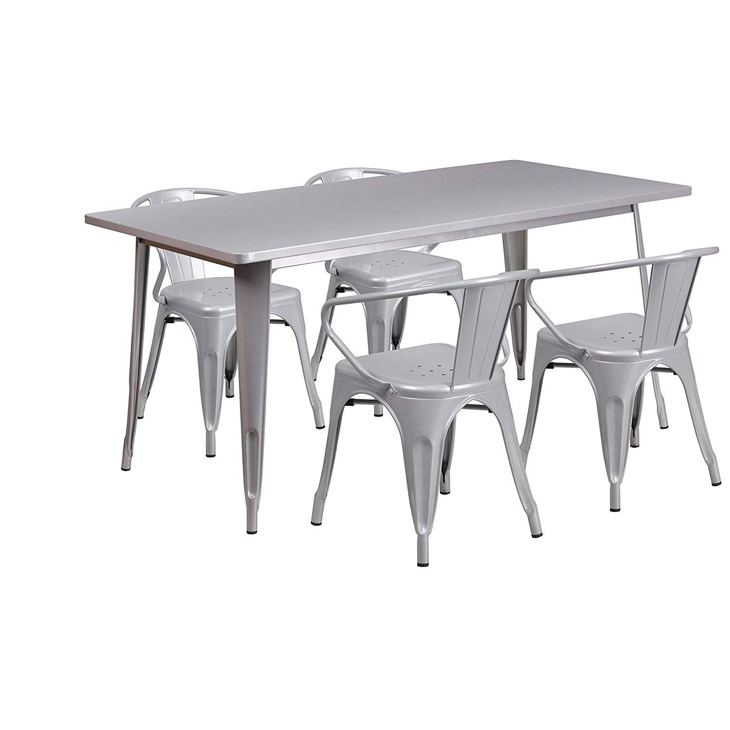 Flash Furniture 31 5 X 63 Rectangular Silver Metal Indoor Outdoor Table Set With 4 Arm Chairs Outdoor Table Settings Outdoor Tables Flash Furniture