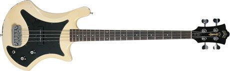 GUILD B301 BASS -    PRODUCED: 1977 - 1981.  ORIGIN: USA.  TYPE: Twin cutaway offset solid body, 4-string.  BODY: Mahogany.  NECK: Mahogany set-neck with maple stringer at back, 20 heavy frets.  SCALE LENGTH: 864mm (34-inch).  FINGERBOARD: Rosewood, white pearl dot inlays.  HARDWARE: Chrome, brass bridge, two-a-side Schaller open gear tuners.  PICKUP: Single-coil DiMarzio.  CONTROLS: Volume & Tone.  FEATURES: Multi-adjustable bridge, fretted or fretless.  FINISHES: Natural, Black, Red and…