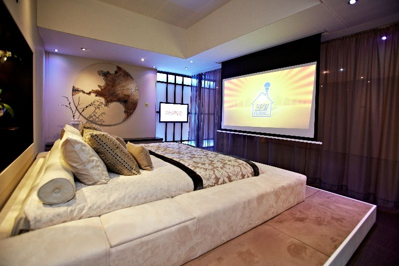 Home Design, Asian Inspired Bedroom Motif Blankets Cream Bed Tv Projector  Colorful Cushion Decoration Brown Curtain And Maroon Floor Style ~  Outstanding ...