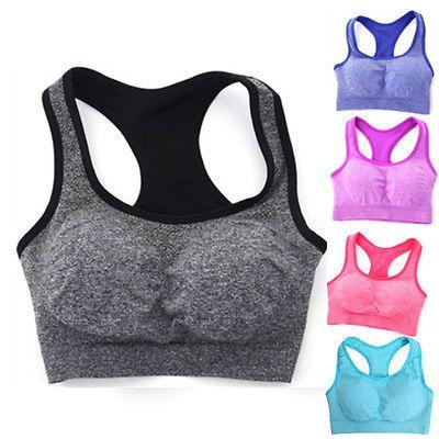 Algodón de Las Mujeres de Secado rápido de Absorción de Choque Profesional  Deportes Yoga Bra Camisetas Sin Mangas Chaleco Deporte de Fitness Yoga  Inconsútil ... fba2a175bfeb