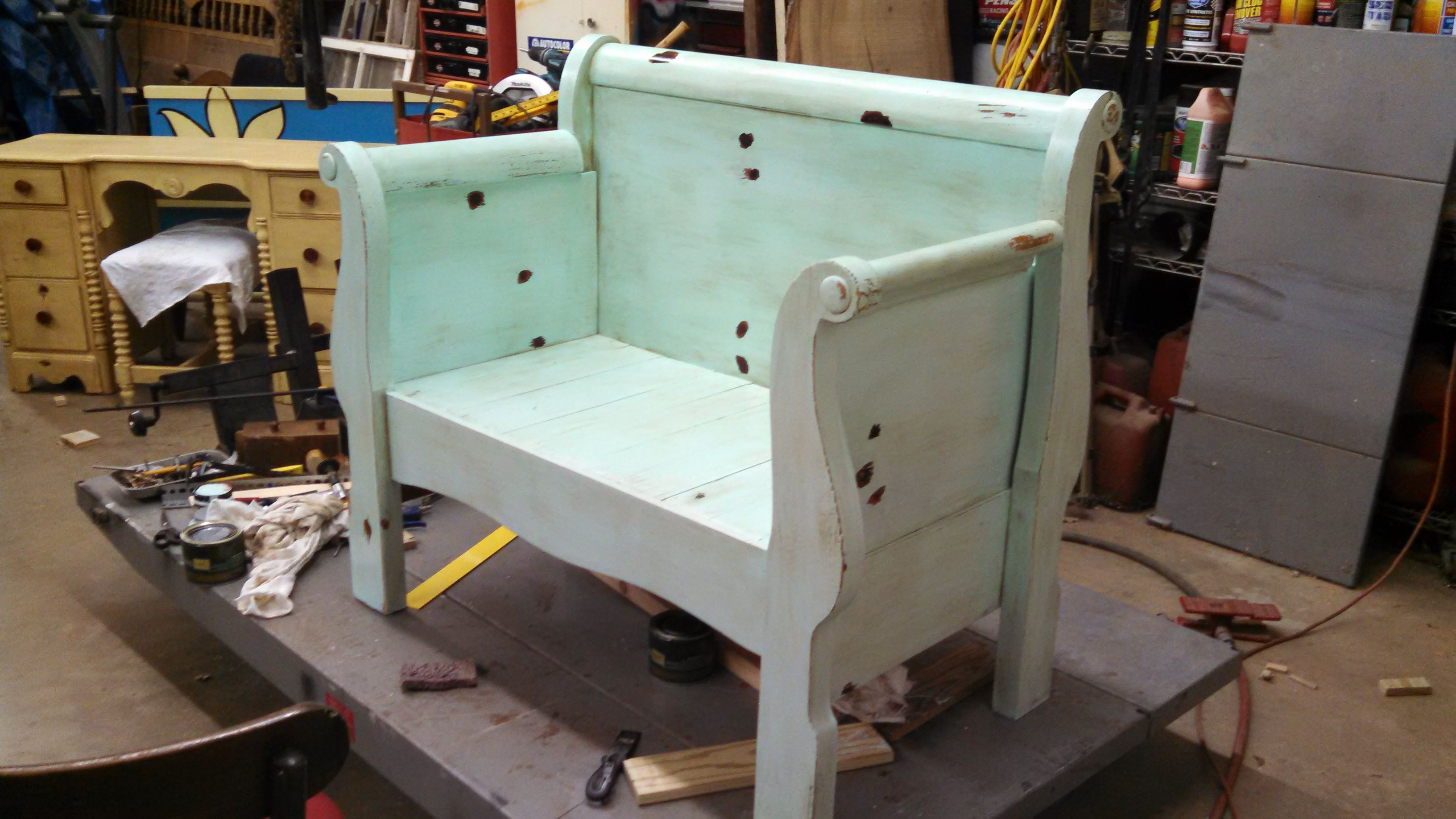Brilliant Sleigh Bed Bench Finished Projects Diy Garden Furniture Spiritservingveterans Wood Chair Design Ideas Spiritservingveteransorg