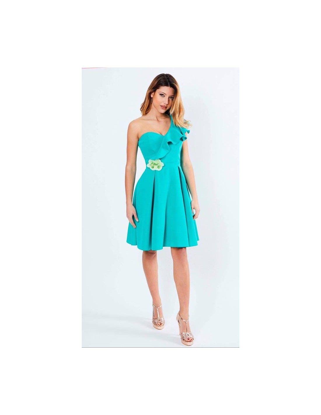 30e70d03ac Vestido Flor Agua Marina - Vestido en color Agua marina. Escote en pico.  Detalle