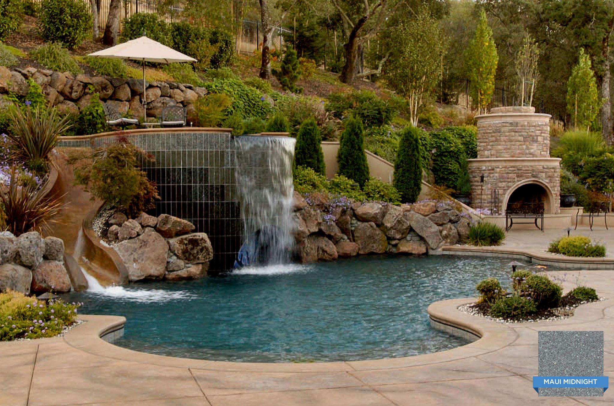 Hydrazzo Maui Midnight In This Lush Swimming Pool Provides The Right Mix Of Elegance And Deep Wa Swimming Pool Pictures Swimming Pool Galleries Pool Renovation