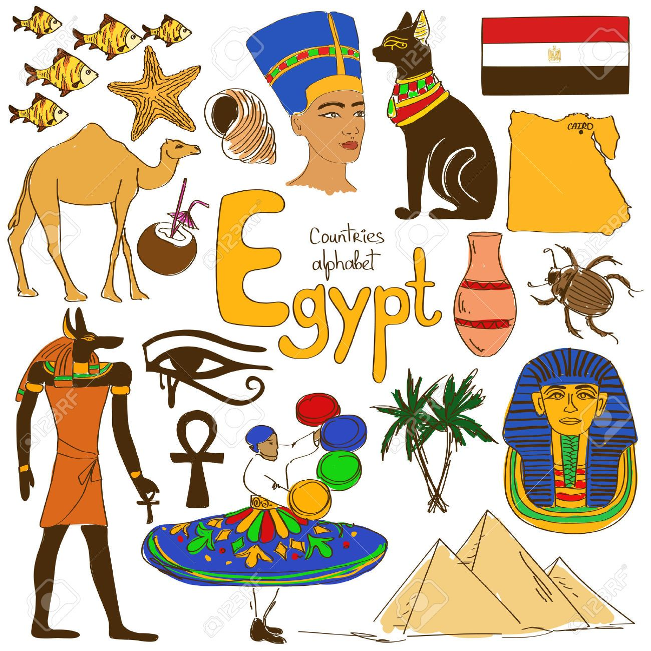 Fun Colorful Sketch Collection Of Egypt Icons Countries