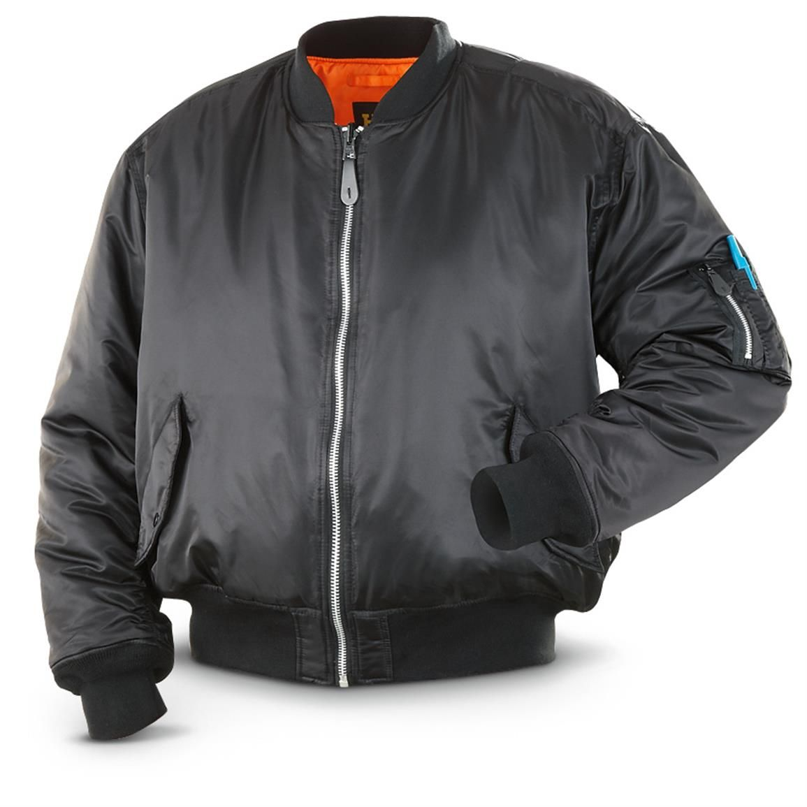 HQ ISSUE Men's MA-1 Bomber Flight Jacket, Black | Fashion Collab ...