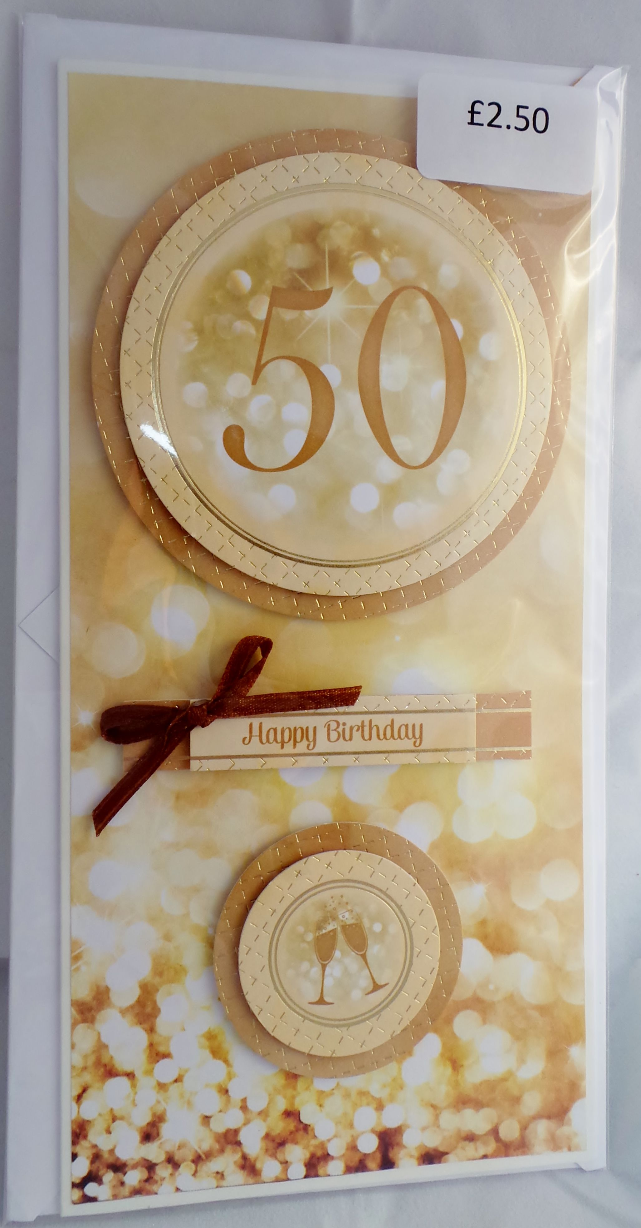 dl th birthday card with hand made envelope and ribbon detail