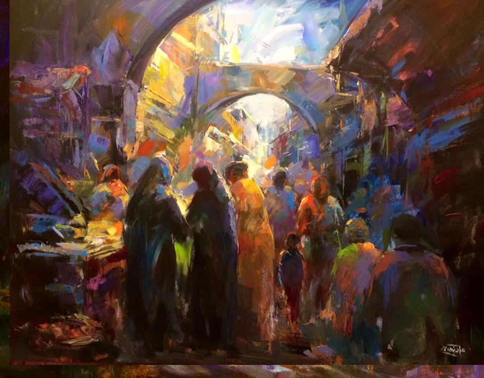 Lovely painting by egyptian artist emad rizk emad rizk for Egyptian mural paintings