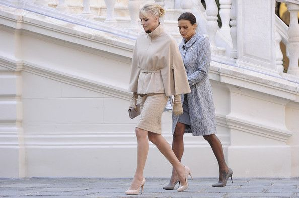 Princess Charlene and Princess Stephanie (Monaco) - 60s-style coat/dress combos