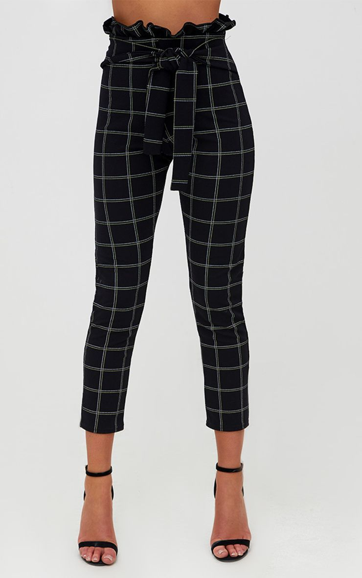 6070ae3b Black Tweed Check Paperbag Skinny Trousers. Trousers | PrettyLittleThing USA