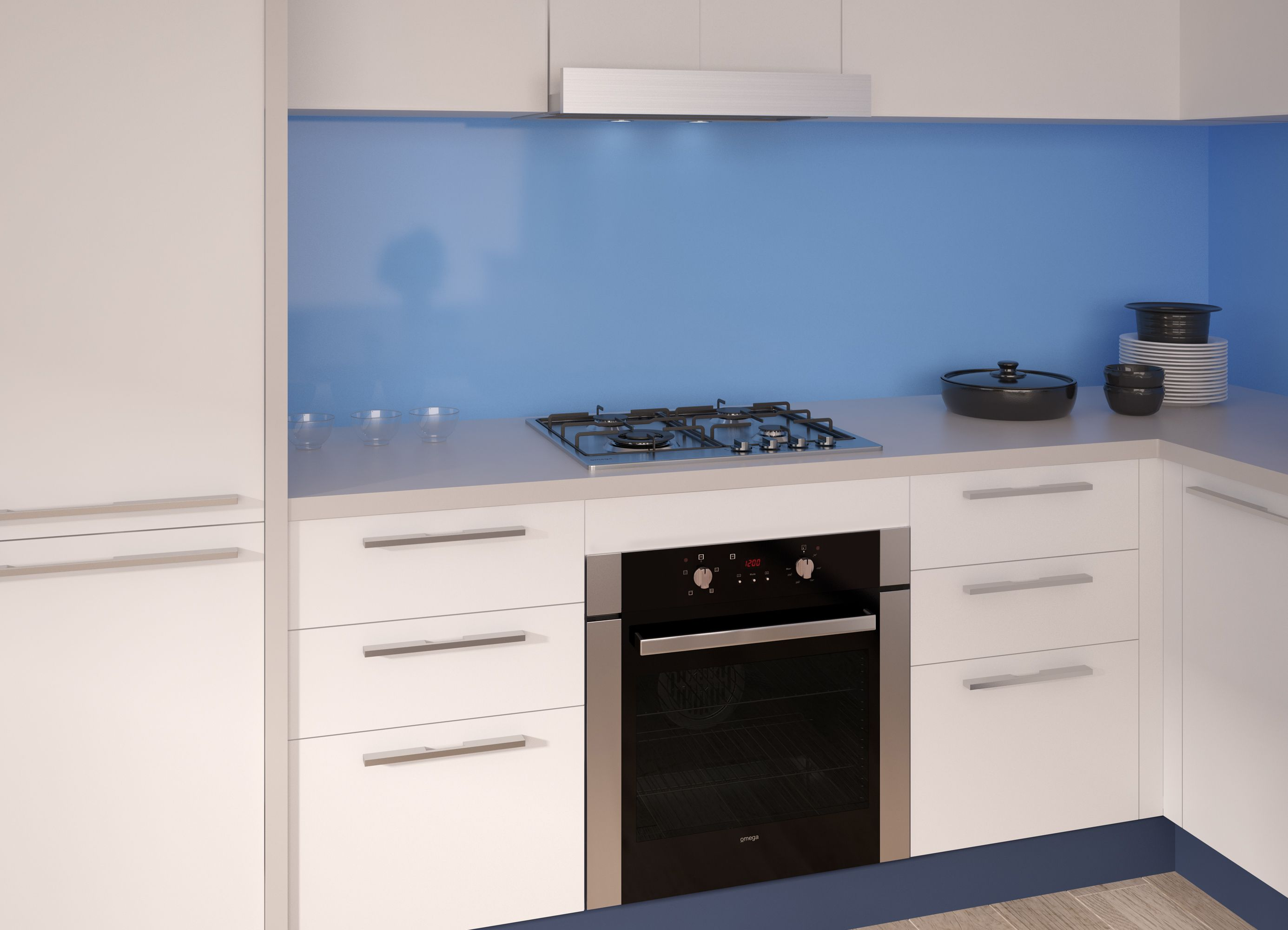 The Omega OO686X electric oven, OCG61X gas cooktop and ORT6WXA slide ...