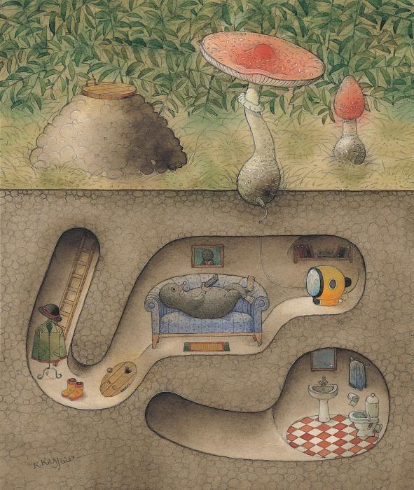 whimsical underground animal burrow