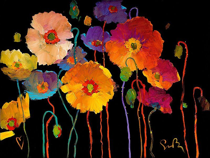 Stunning color against the black background for Acrylic painting on black background