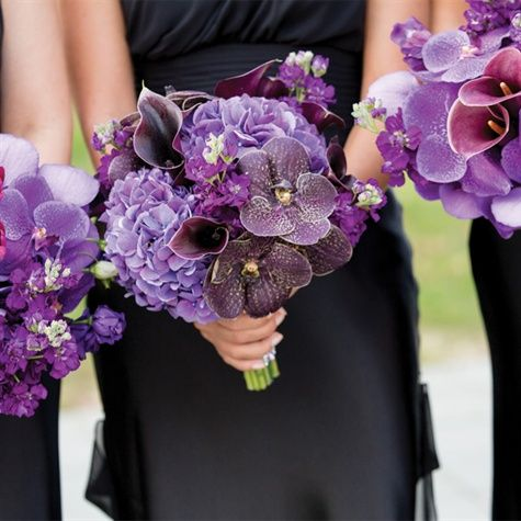 Purple Lily, Orchid and Hydrangea Bouquets | Drew Noel Photography | Theknot.com