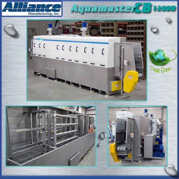 A plastic tray cleaning system with wash, ambient and heated blowoff process zones. This design includes exhaust fan system, solution heat auto-timer, micro filtration and oil skimmer. (681)